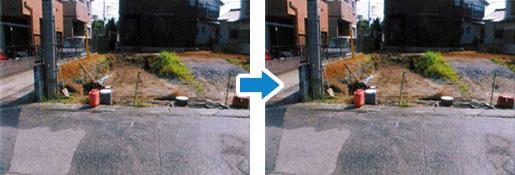 土間コンクリート工事とカーポートの設置工事の様子